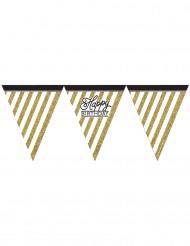 Grinalda de bandeirolas preta e dourada Happy Birthday
