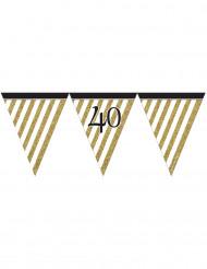 Grinalda de bandeirolas preta e dourada 40 anos