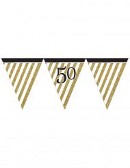 Grinalda de bandeirolas preta e dourada 50 anos