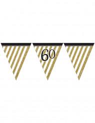 Grinalda de bandeirolas preta e dourada 60 anos