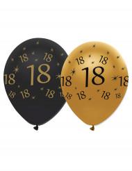 6 Balões pretos e dourados 18 anos