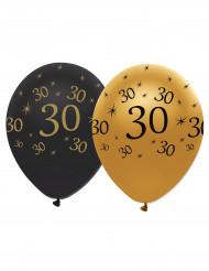 6 Balões pretos e dourados 30 anos