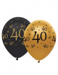 6 Balões pretos e dourados 40 anos
