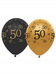 6 Balões pretos e dourados 50 anos