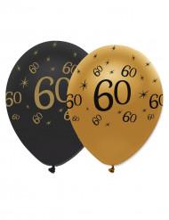 6 Balões pretos e dourados 60 anos