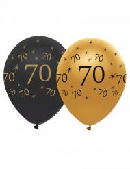6 Balões pretos e dourados 70 anos