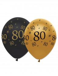 6 Balões pretos e dourados 80 anos