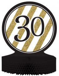 Centro de mesa 30 anos Preto e Dourado