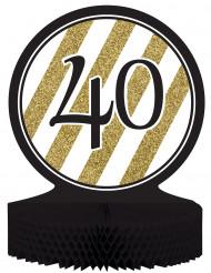 Centro de mesa 40 anos preto e dourado
