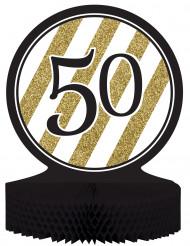 Centro de mesa 50 anos Preto e Dourado