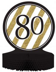 Centro de mesa 80 anos Preto e Dourado
