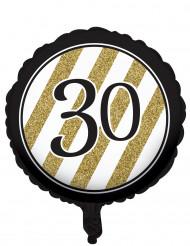 Balão alumínio preto e dourado 30 anos