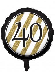 Balão alumínio preto e dourado 40 anos