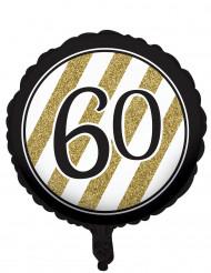 Balão alumínio preto e dourado 60 anos