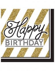 16 Guardanapos Happy Birthday preto e dourado 33 cm