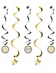 5 Decorações para pendurar espiral aniversário Preto e dourado