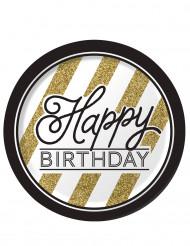 8 Pratos de cartão Happy Birthday preto e dourado