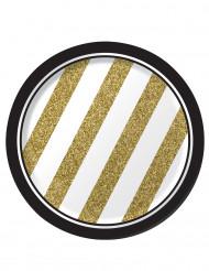 8 Pequenos pratos de cartão preto e dourado
