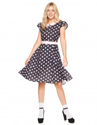 Disfarce vestido anos 50 as bolas cor-de-rosa mulher
