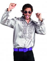Camisa Disco Prateada para Homem