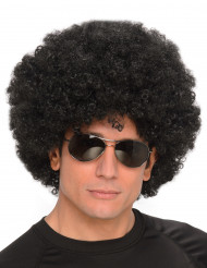 Peruca afro disco preta adulto