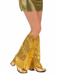 Polainas de lantejoulas douradas