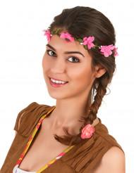 Coroa de flores cor-de-rosa adulto