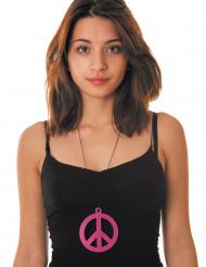Colar peace cor-de-rosa fluo adulto
