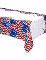Toalha de mesa em plástico bandeira USA 137 x 213 cm