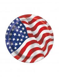 8 Pratos de cartão bandeira americana 17 cm