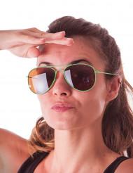 Óculos aviador verdes fluo adulto