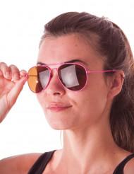 Óculos aviador cor-de-rosa fluo adulto