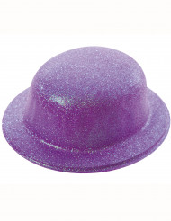 Chapéu coco brilhante roxo adulto