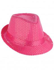 Chapéu dançarino comlantejoulas rosa fluorescente -adulto