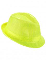 Chapéu borsalino com lantejoulas amarelas fluo adulto
