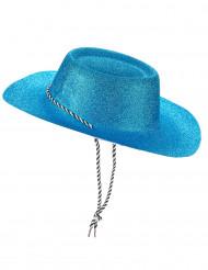 Chapéu cowgirl azul com lantejoulas adulto