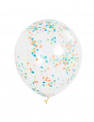 6 Balões transparentes com confetis coloridos