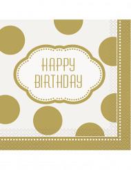 16 Guardanapos de papel aniversário dourado 33 cm