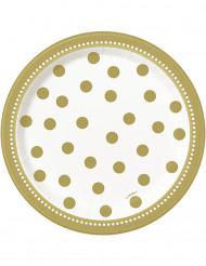 8 Pratos pequenos de cartão dourados 17 cm