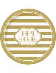 8 Pratos de cartão aniversário dourado