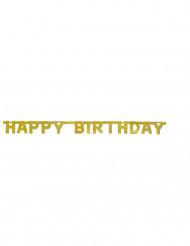 Grinalda articulada Happy Birthday dourada 121 cm