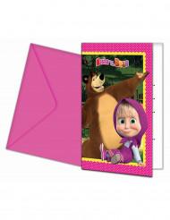 6 Convites Masha e o Urso™ com envelopes