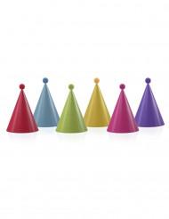 6 Chapéus de festa coloridos com pompom
