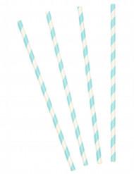10 Palhinhas de cartão às riscas azuis