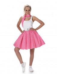 Disfarce dos anos 50 cor-de-rosa às bolas brancas mulher