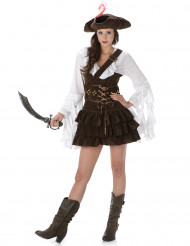 Disfarce de pirata mulher efeito camurça