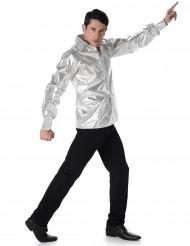 Camisa disco brilhante prateada homem