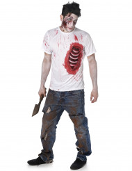 Disfarce de zumbi com as costelas de látex homem Halloween