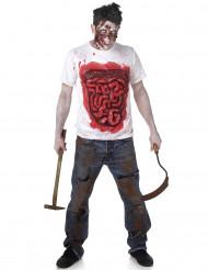 Disfarce zumbi com intestino de látex homem Halloween