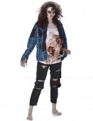 Disfarce zumbi barriga de látex mulher Halloween